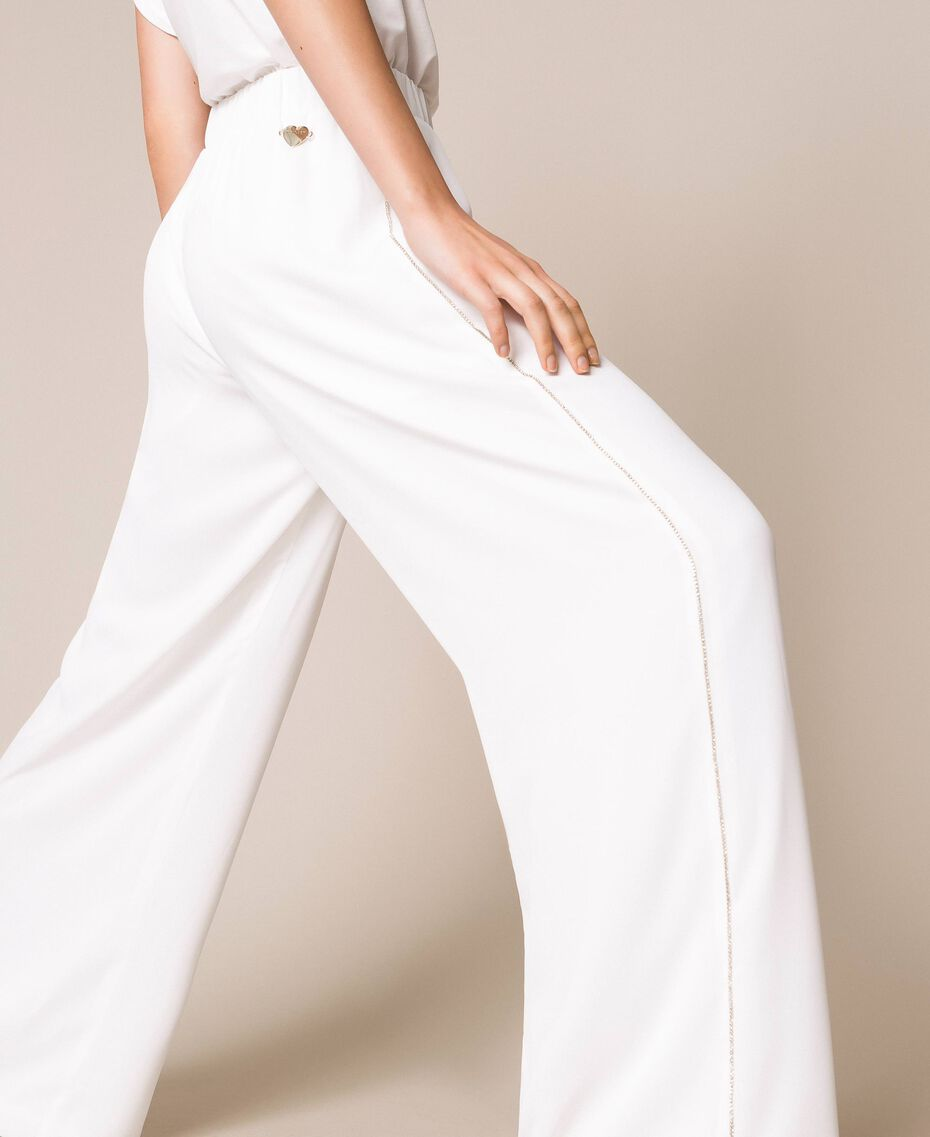 Crêpe palazzo trousers with rhinestones Ivory Woman 201LB27FF-02