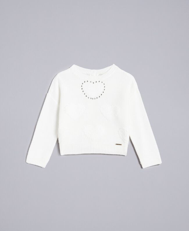 Jumper with terry stitch hearts Off White Child GA83DB-01