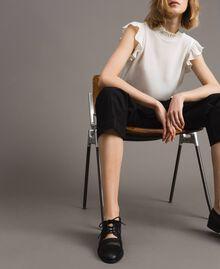 Туфли на шнурках из искусственной кожи и сетки Черный женщина 191MCP094-0S