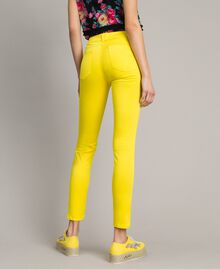 Skinny trousers with rhinestone heart Fluorescent Yellow Woman 191MT2446-04