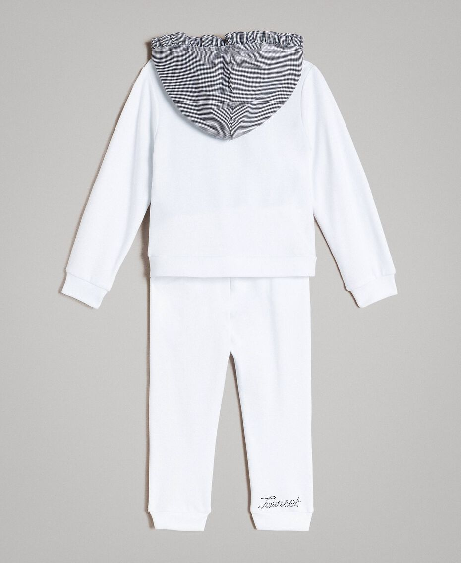 Fleece tracksuit with gingham details Two-tone Optical White / Gingham Child 191GB2210-0S
