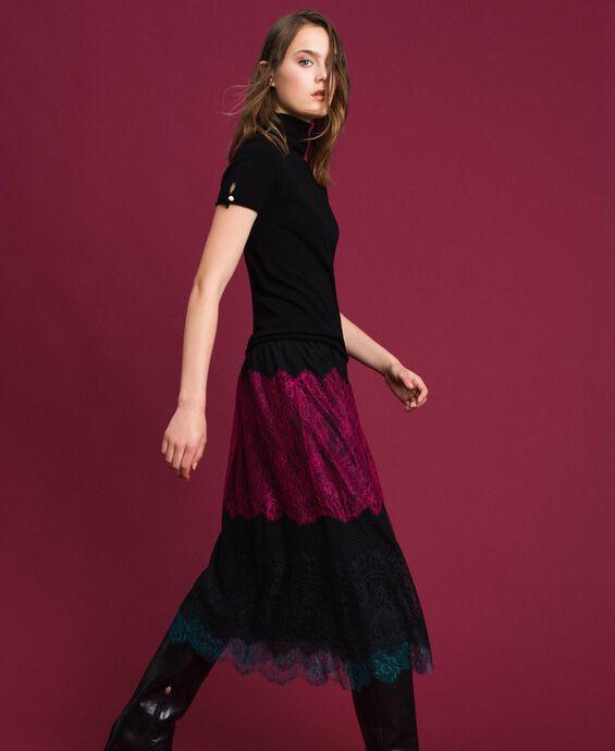 Colour block lace midi skirt
