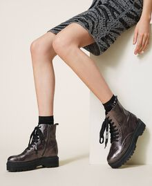 Laminated faux leather combat boots with logo Laminated Anthracite Woman 202MCP082-0S