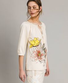"""Poplin blouse with print and studs """"Shell"""" Beige Woman 191MT2143-03"""