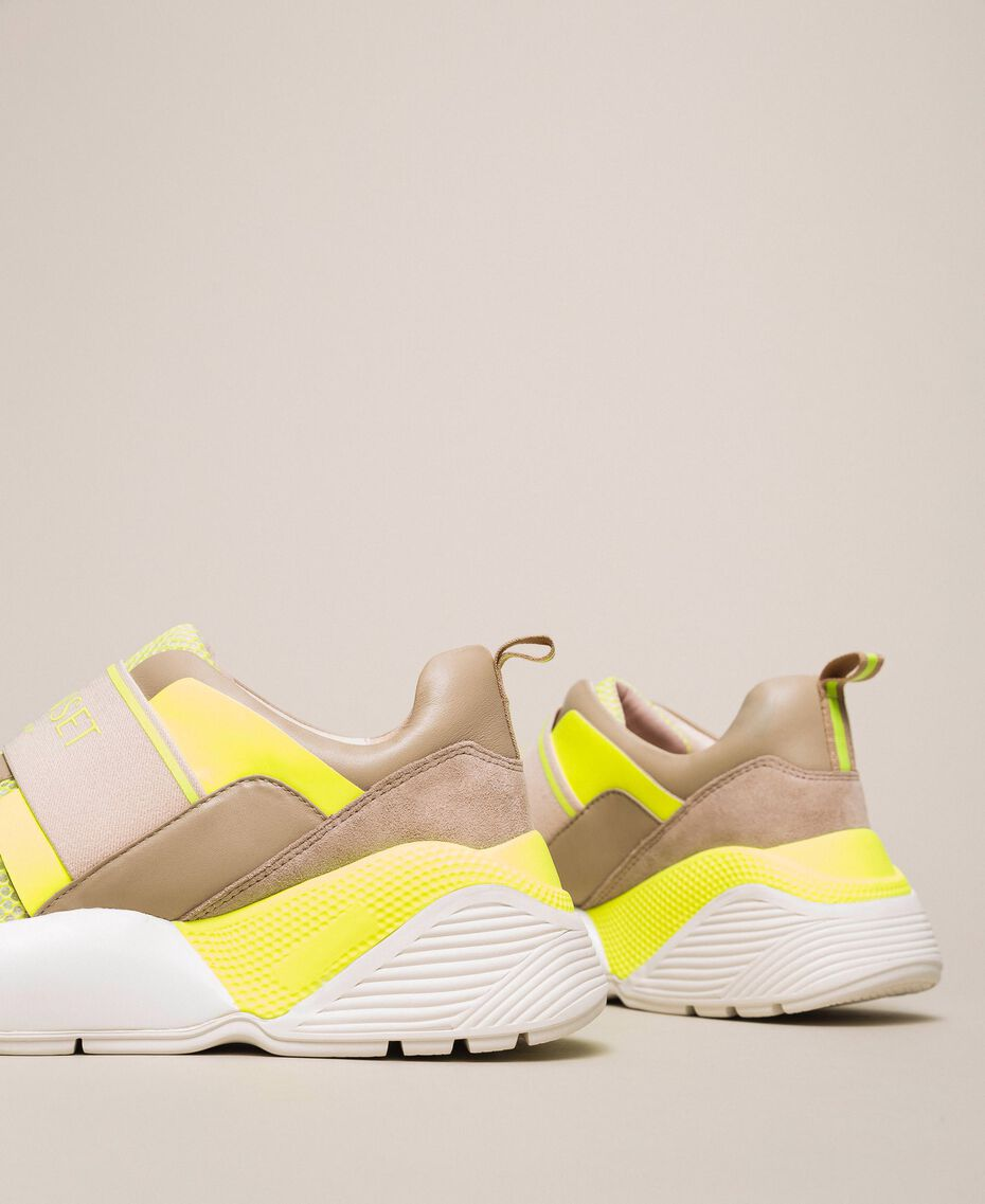 Running shoes with logo Two-tone Optical White / Fluo Yellow Woman 201TCP152-02