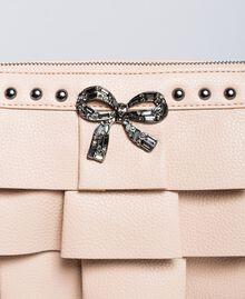 "Faux leather clutch bag with ruches ""Nude"" Beige Woman VA8PAR-04"