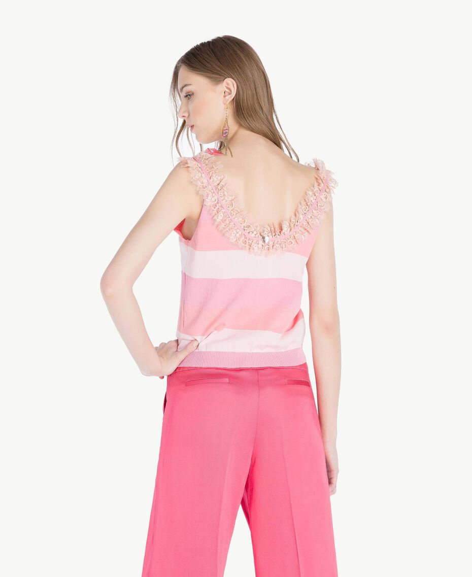 Top ruches Rayure Rose Femme TS83CC-03