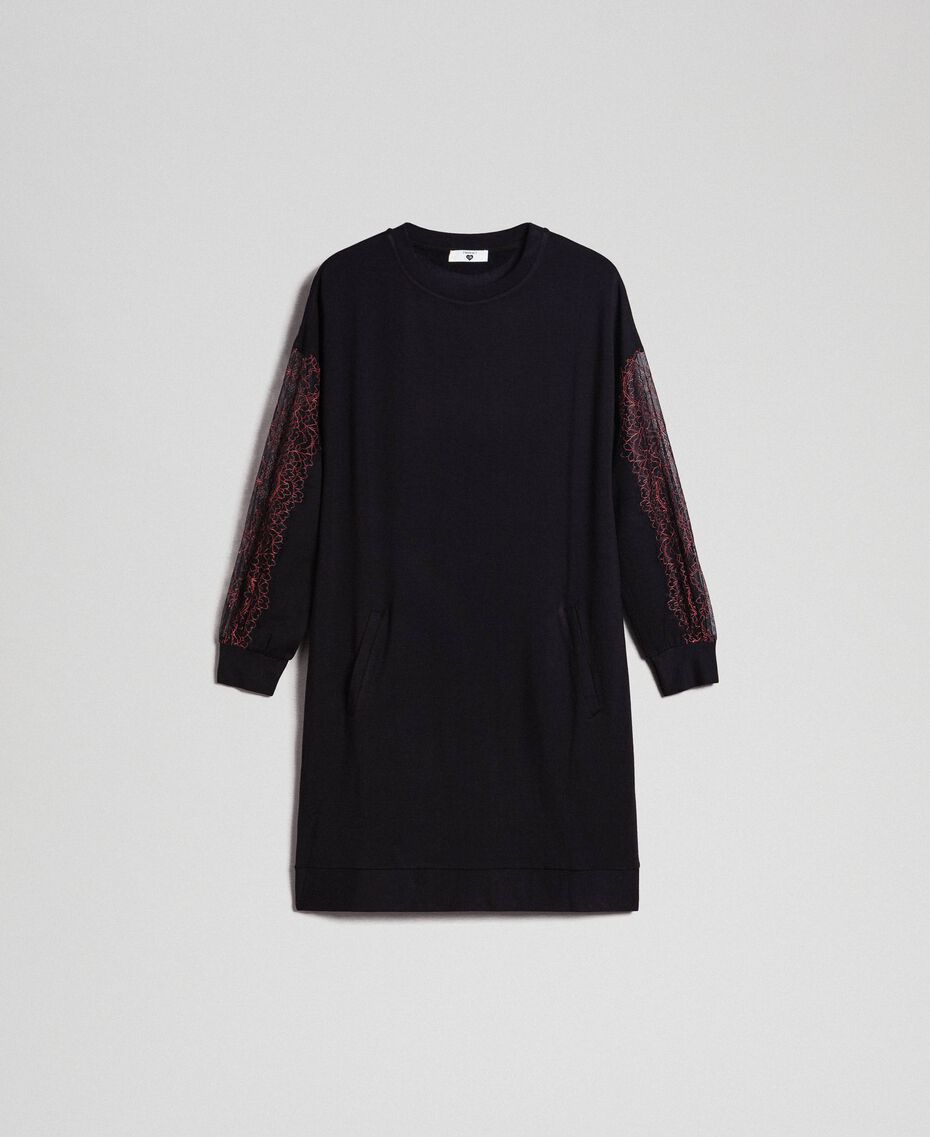 Robe en molleton avec dentelle bicolore Noir Femme 192LI24CC-0S