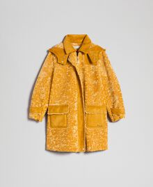 Faux shearling coat with hood Ochre Yellow Child 192GJ2180-0S
