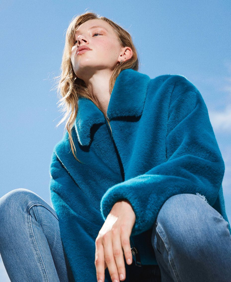 Jacke aus Pelzimitat Blau Ostsee blau Frau 202TP2334-01