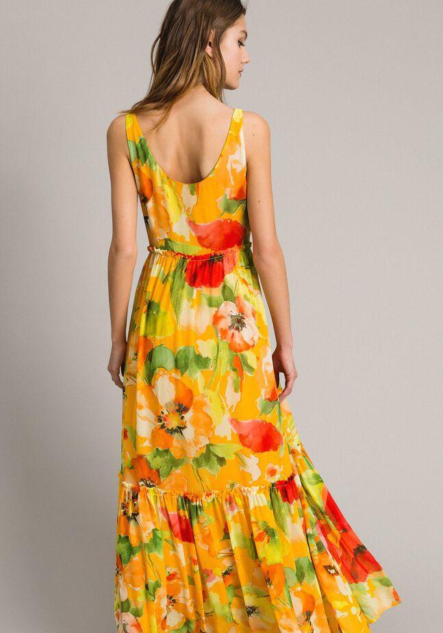 Floral print georgette long dress