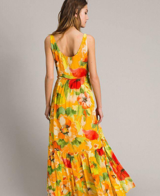 Georgette-Maxikleid mit Blumenmuster Motiv Gelbe Macro Blumen Frau 191TT2480-01