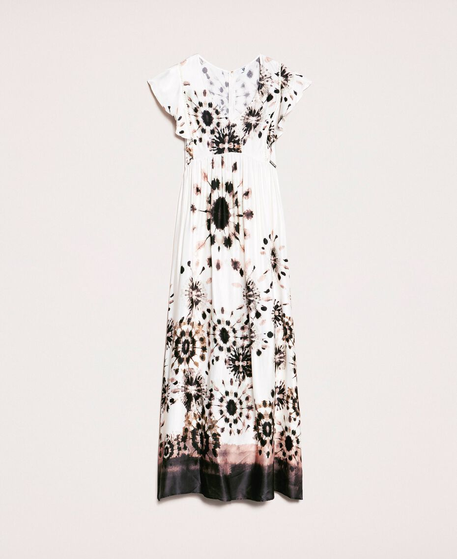 Printed satin long dress Black Unevenly Dyed Print Woman 201LB2GMM-0S