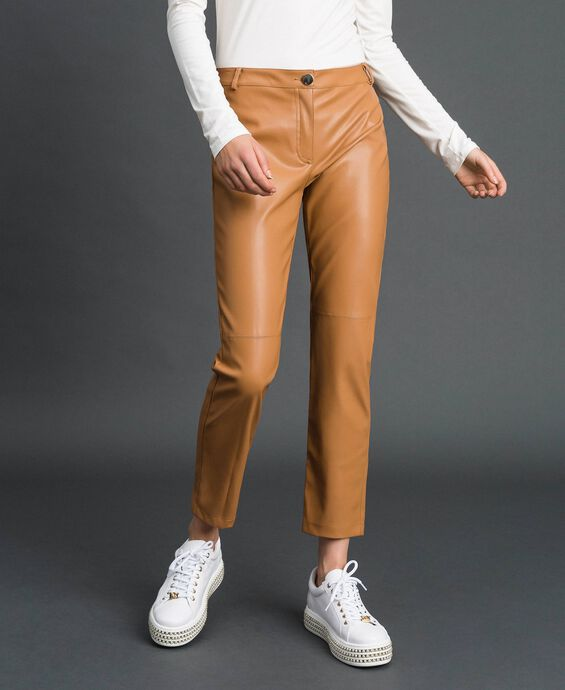 Pantalon cigarette en similicuir