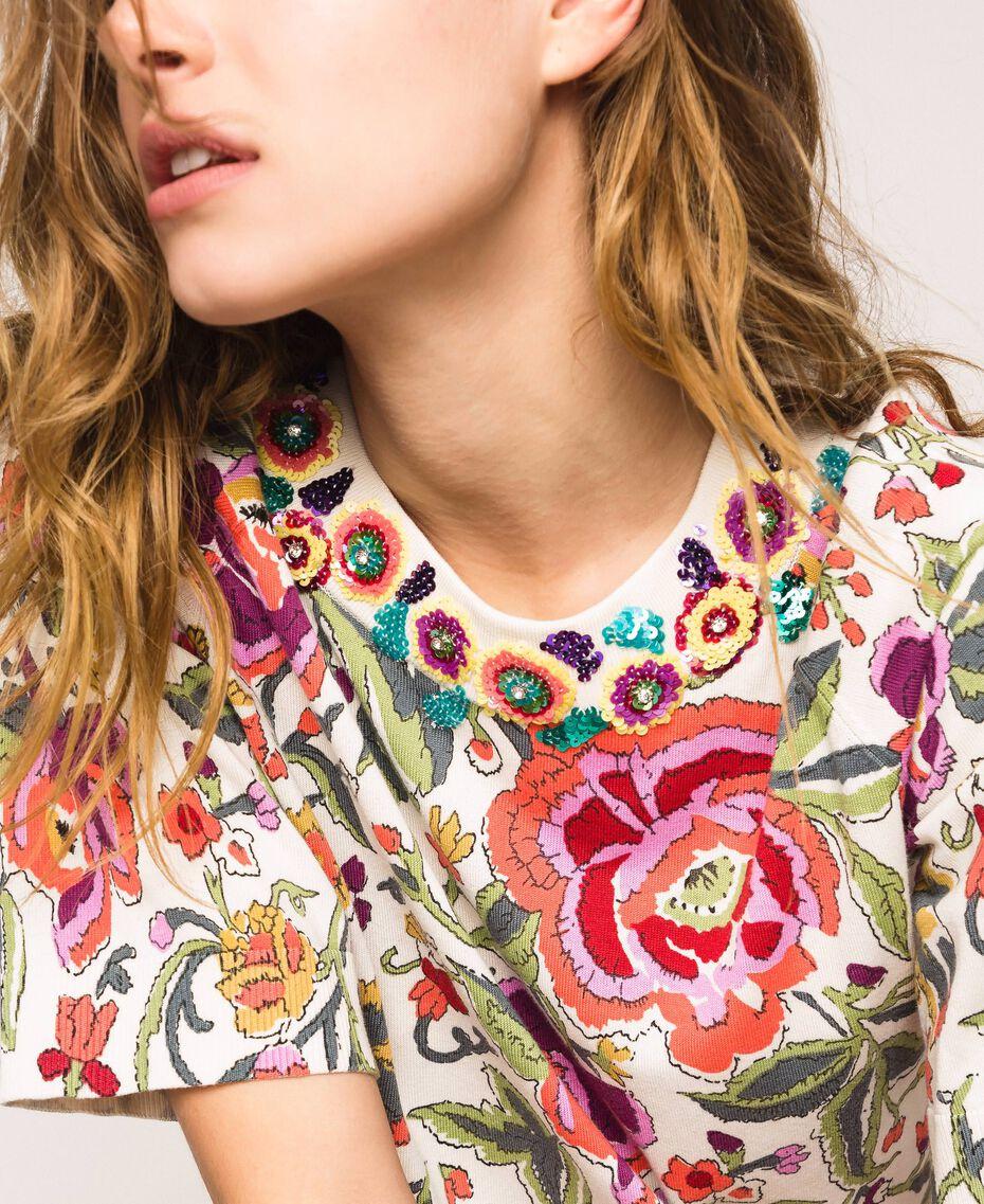 Pull-cardigan imprimé et brodé Imprimé Fleurs Sugar Coral Femme 201TT3170-01