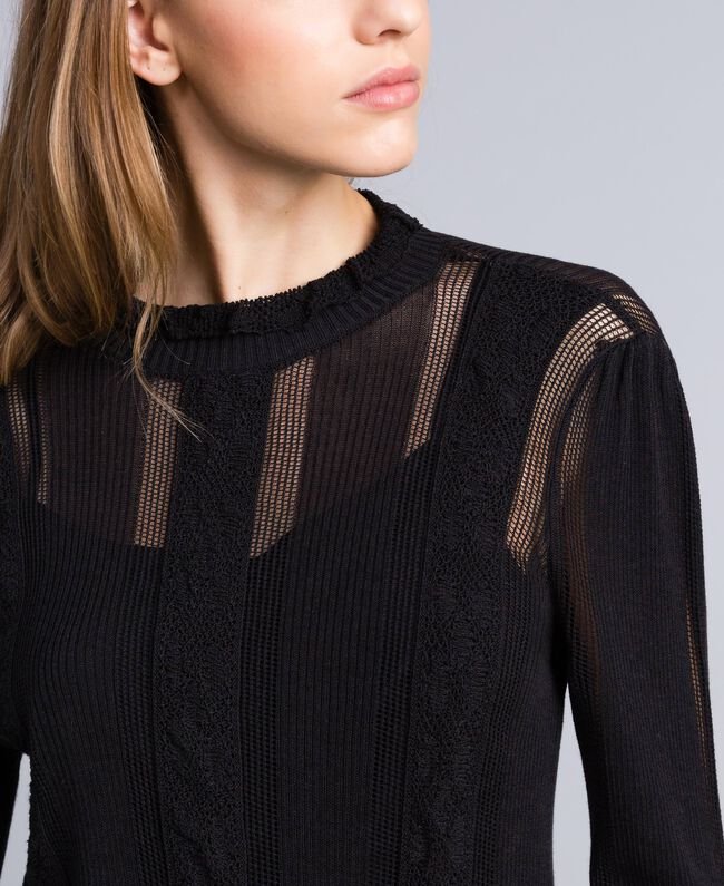 Kleid aus Viskose und Baumwolle mit Spitze Schwarz Frau TA83FB-04