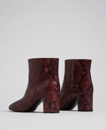 Leather ankle boots with animal print Beet Red Python Print Woman 192TCP12Q-04