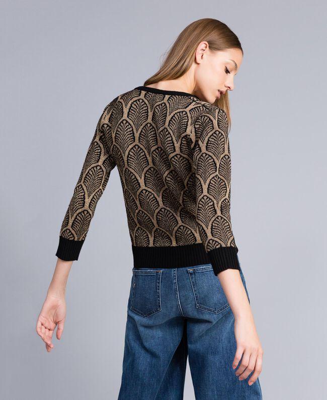Pullover aus Wollmischung und Lurex in Jacquardverarbeitung Jacquard Schwarz / Goldlurex Frau TA8323-03