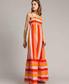 Robe longue en popeline à rayures multicolores Imprimé Multicolore Grenadine Femme 191TT2411-04