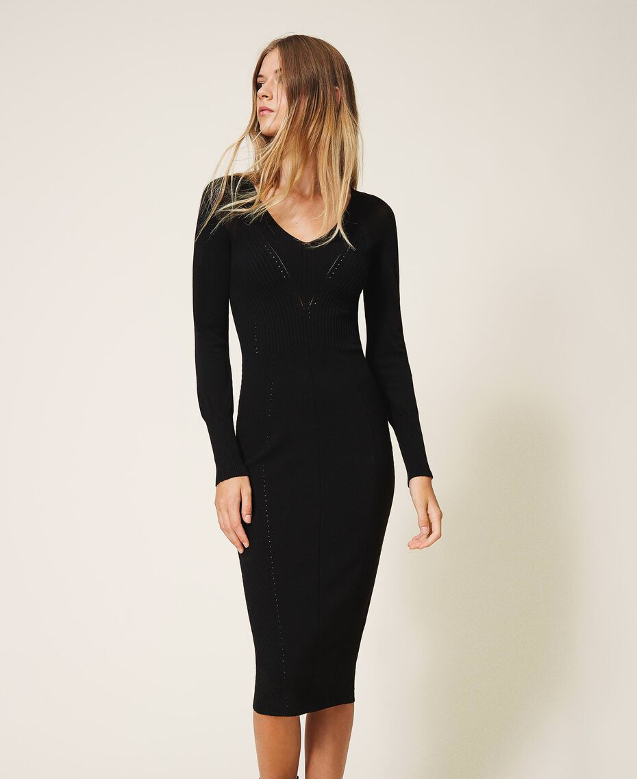 Vestido de tubo de punto Negro Mujer 202TT3120-01