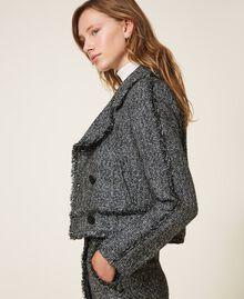 Bouclé biker jacket with sequins Black Woman 202MT218A-02