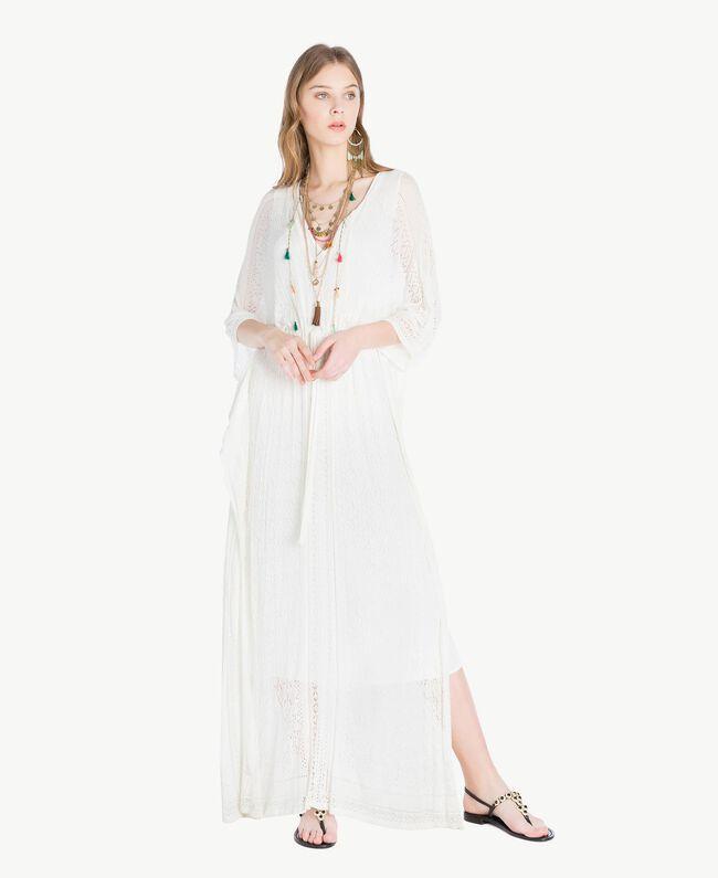 Langes Kleid aus Viskose Perlmutt Frau TS83AC-01