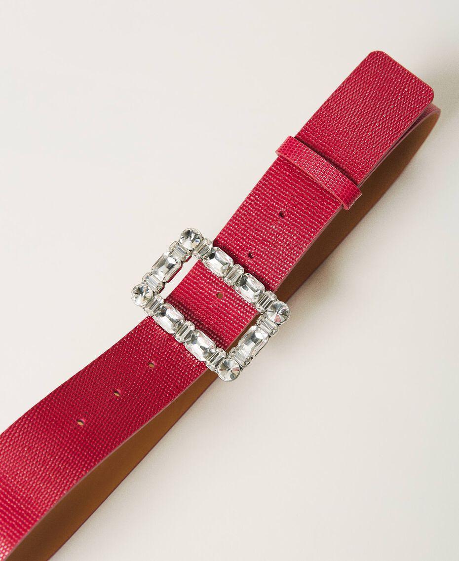 Gürtel aus geprägtem Leder mit Schmuckschnalle Amarena Frau 202TA434F-02