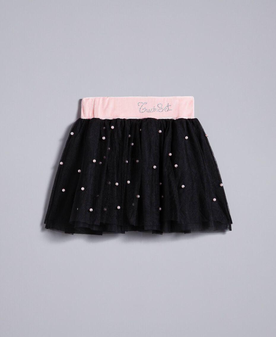 """Gonna in tulle con perle Bicolor Rosa """"Blush"""" / Nero Bambina FA82JB-01"""