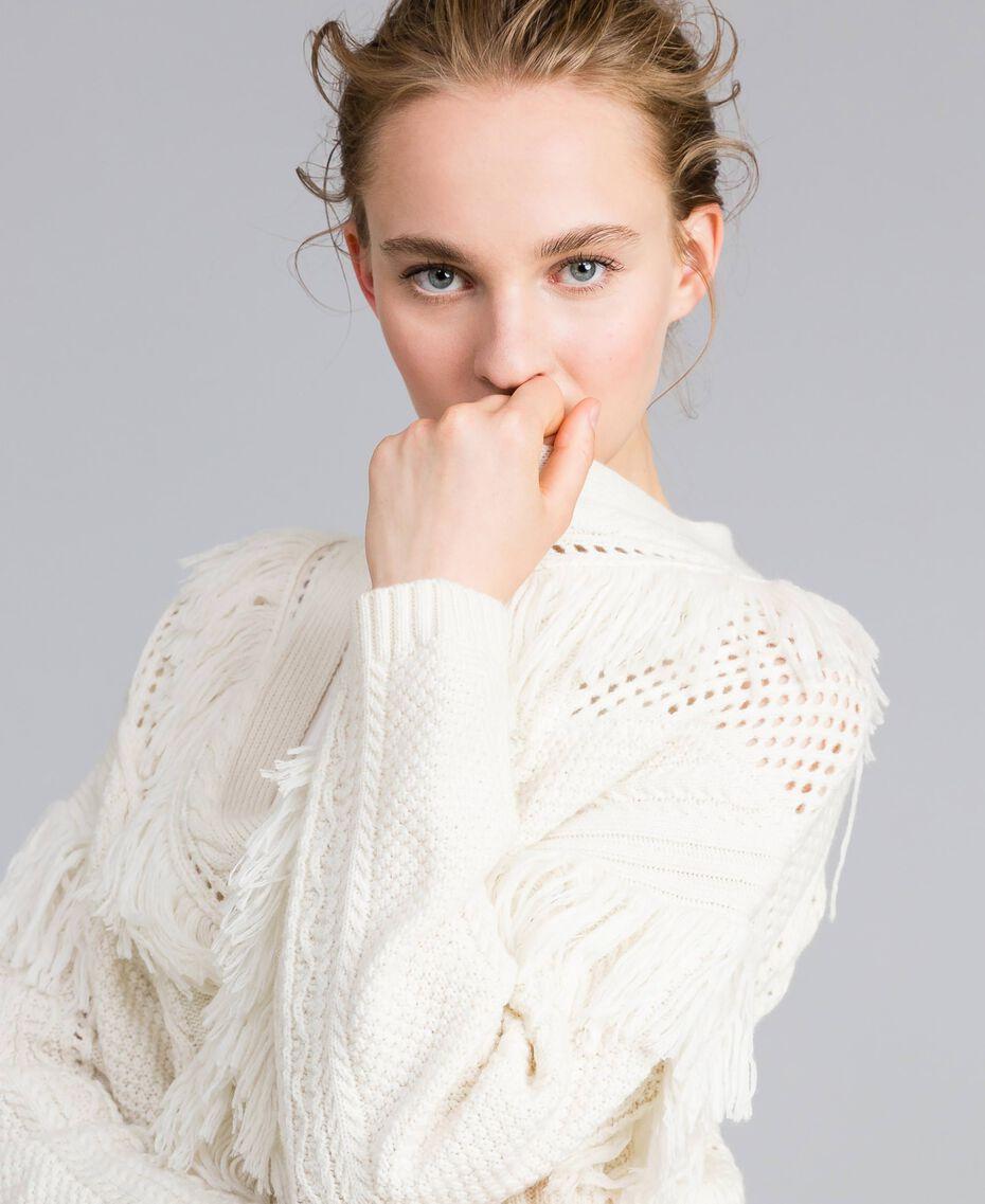 Maxi cardigan in maglia con frange Bianco Neve Donna PA83BB-01