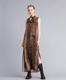 Robe longue en mousseline de soie animalière Imprimé Chocolat Serpent Femme PA829C-01