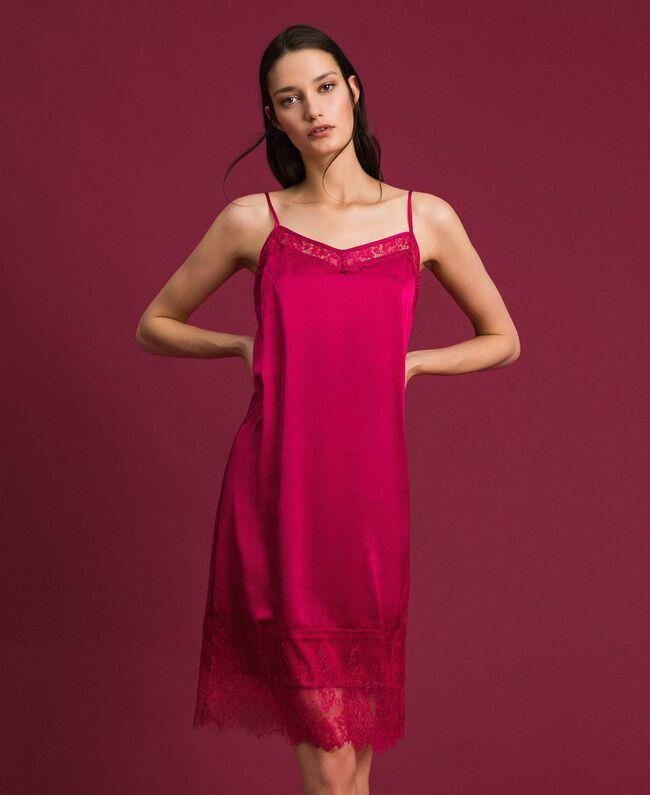 Unterkleid aus Satin mit Spitze Rot Amaranth Frau 192MP2132-01