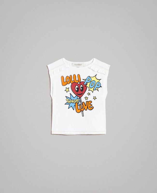 Cotton T-shirt with glitter print Two-tone Optical White / Lolly Print Child 191GB2770-01