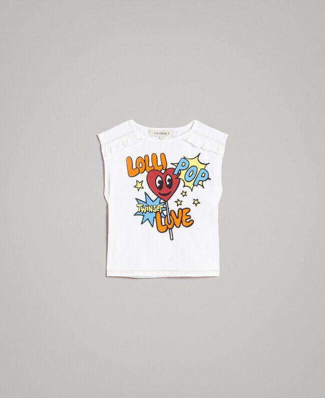 T-shirt en coton avec imprimé brillant Bicolore Blanc Optique / Imprimé Sucette Enfant 191GB2770-01