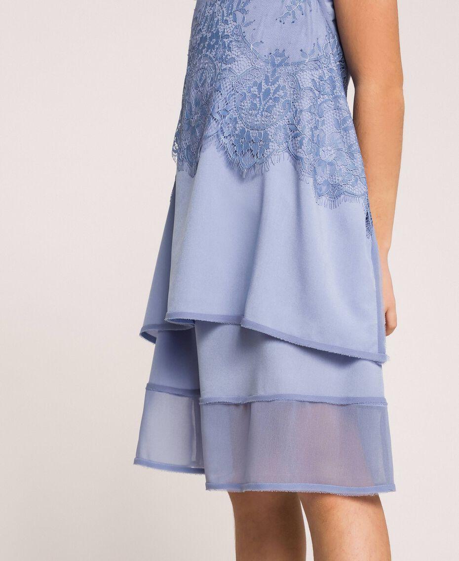 "Crêpe de Chine and lace dress ""Ice"" Dark Blue Child 201GJ2Q30-05"