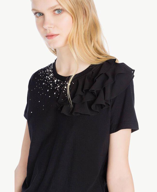 T-shirt ruches Noir Femme JS82RS-04