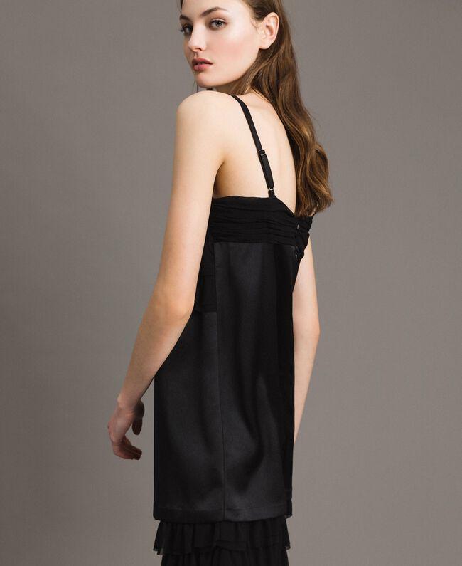 Satin dress with georgette flounces Black Woman 191ST2190-05