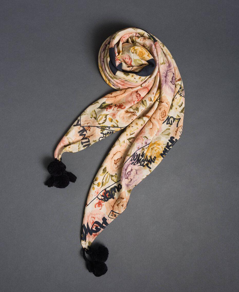 Keffieh imprimé avec pompons et logo Imprimé Fleurs / Graffiti Vanille Femme 192MA4328-01