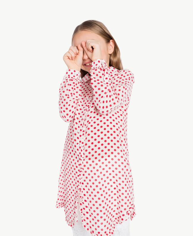 "Polka dot tunic ""Papyrus"" White Polka Dot Print / Pomegranate Red Child GS82PP-05"