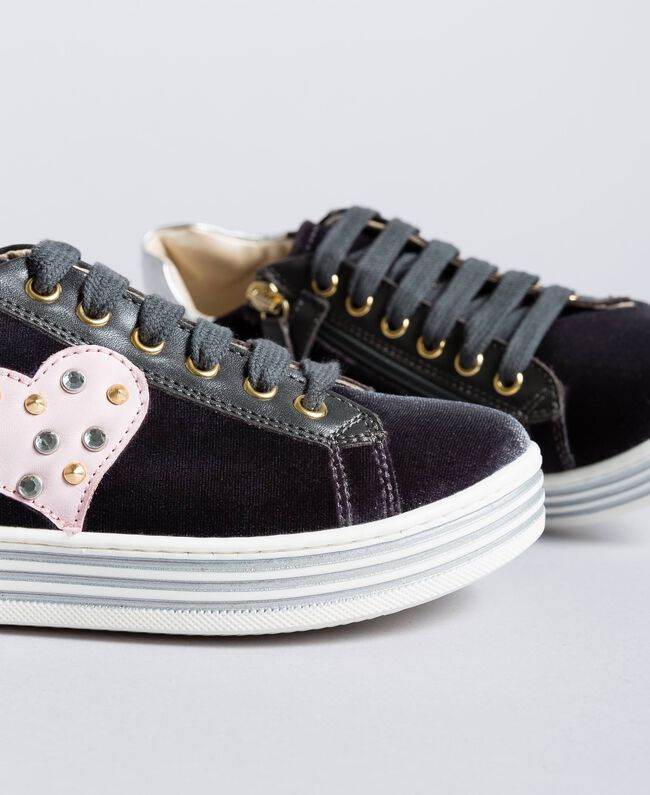 Sneakers in velluto Grigio Grafite Bambina HA88DN-04