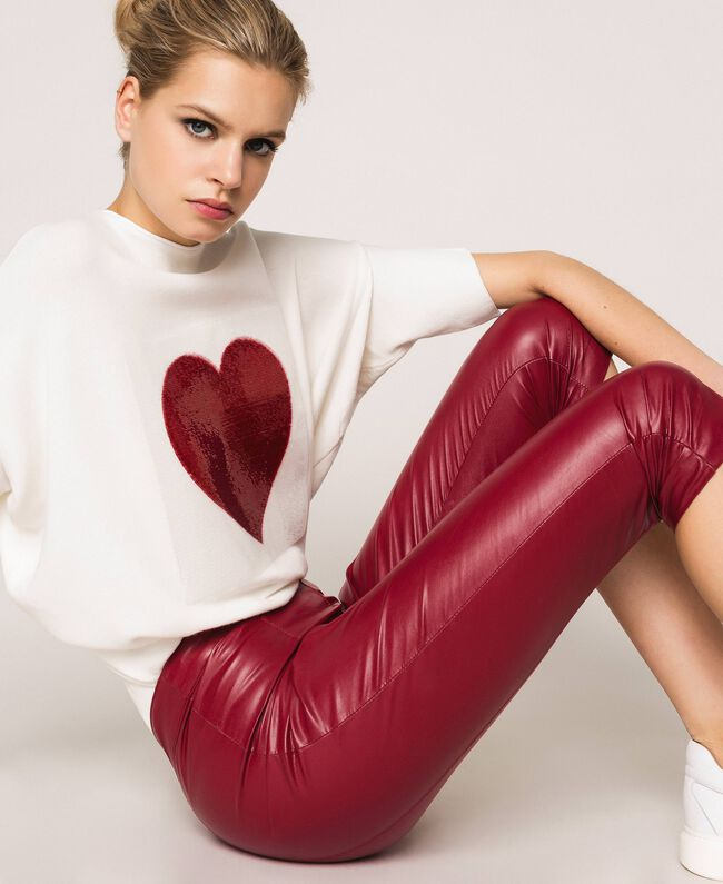 Faux leather leggings with stitches Purple Woman 201ST2113-05