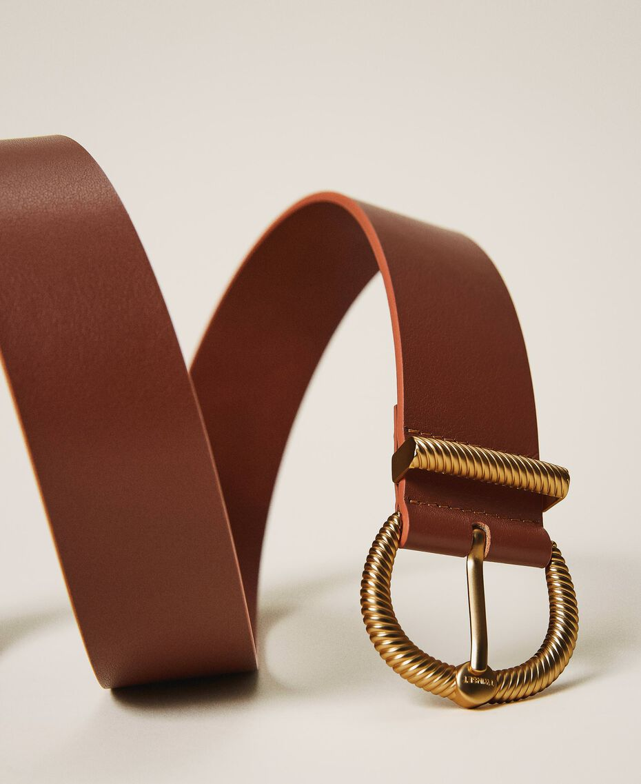 Leather belt with torchon buckle Leather Brown Woman 202TO5011-01