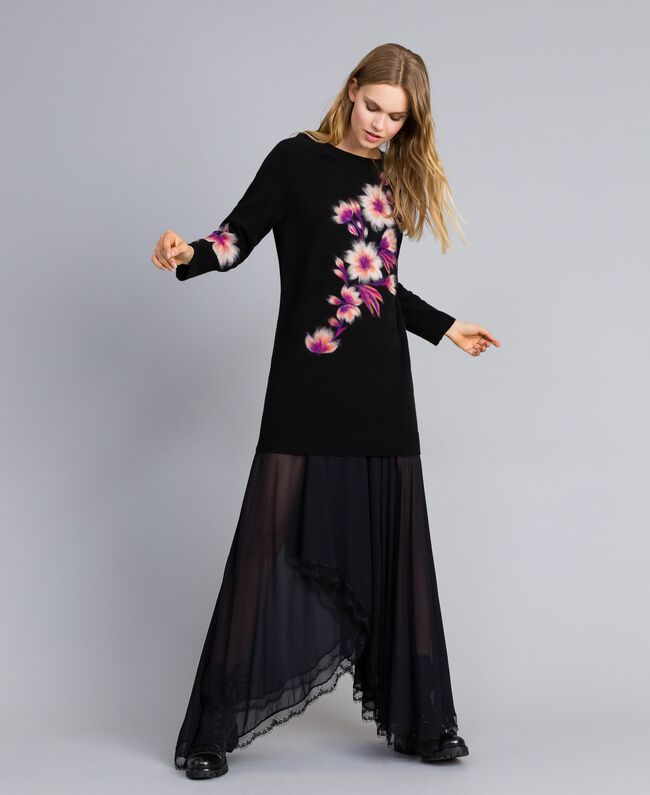 Embroidered wool blend dress Black Needle Punched Embroidery Woman TA83JA-01