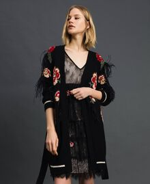 Maxi cardigan with floral jacquard and embroidery Black Woman 192TP3322-02