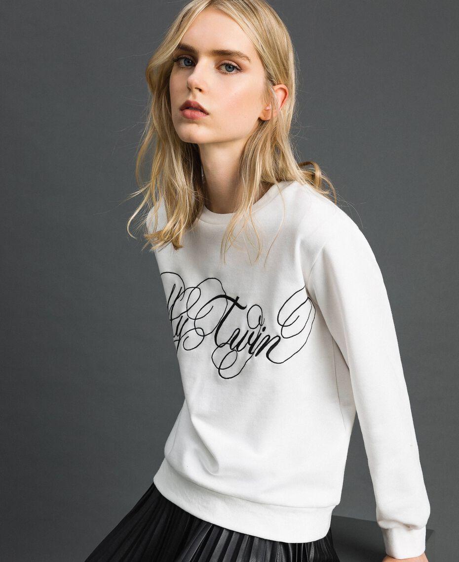 Felpa con logo ricamato Bianco Vaniglia Donna 192MT2302-01