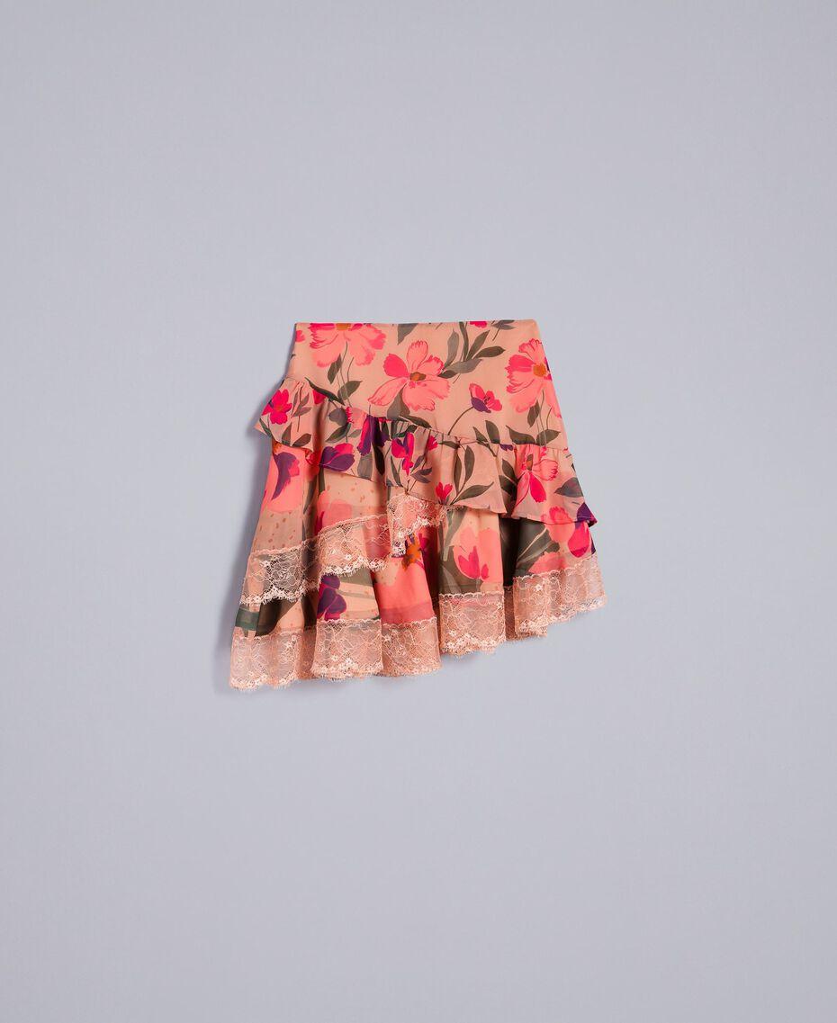 Jupe en mousseline avec imprimés floraux Imprimé Rose Tulipe «Tea Garden» Femme TA829A-0S