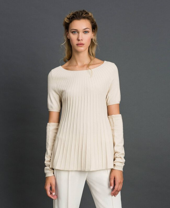 Pull plissé avec manchons Blanc Crème Femme 192ST3171-01