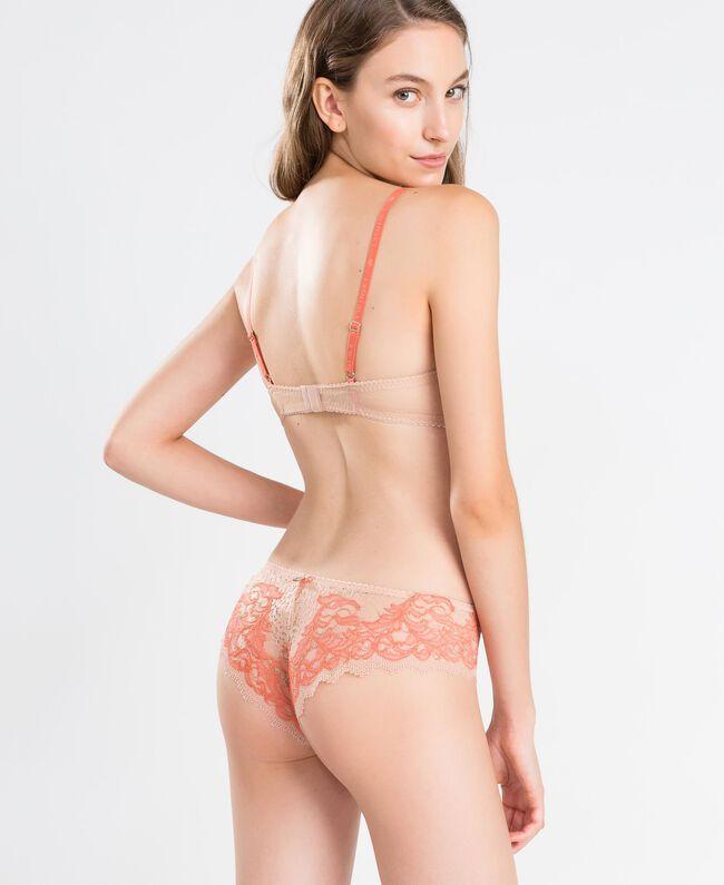 Balconett-BH aus zweifarbiger Spitze Zweifarbig Kürbisorange / Pink Frau LA8C33-03