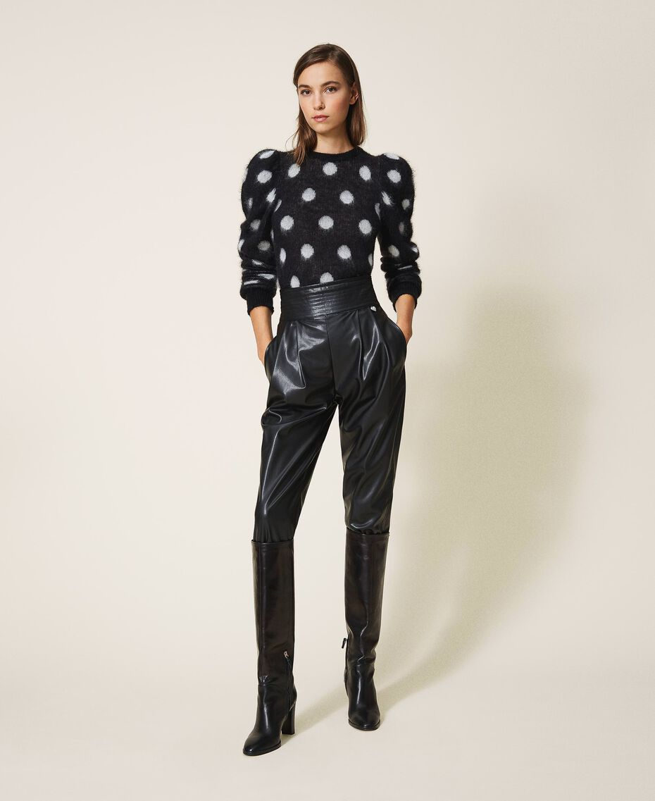 High waist faux leather trousers Black Woman 202TP2061-01