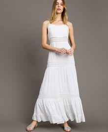 Robe longue avec broderie anglaise Blanc Femme 191LB2EAA-05