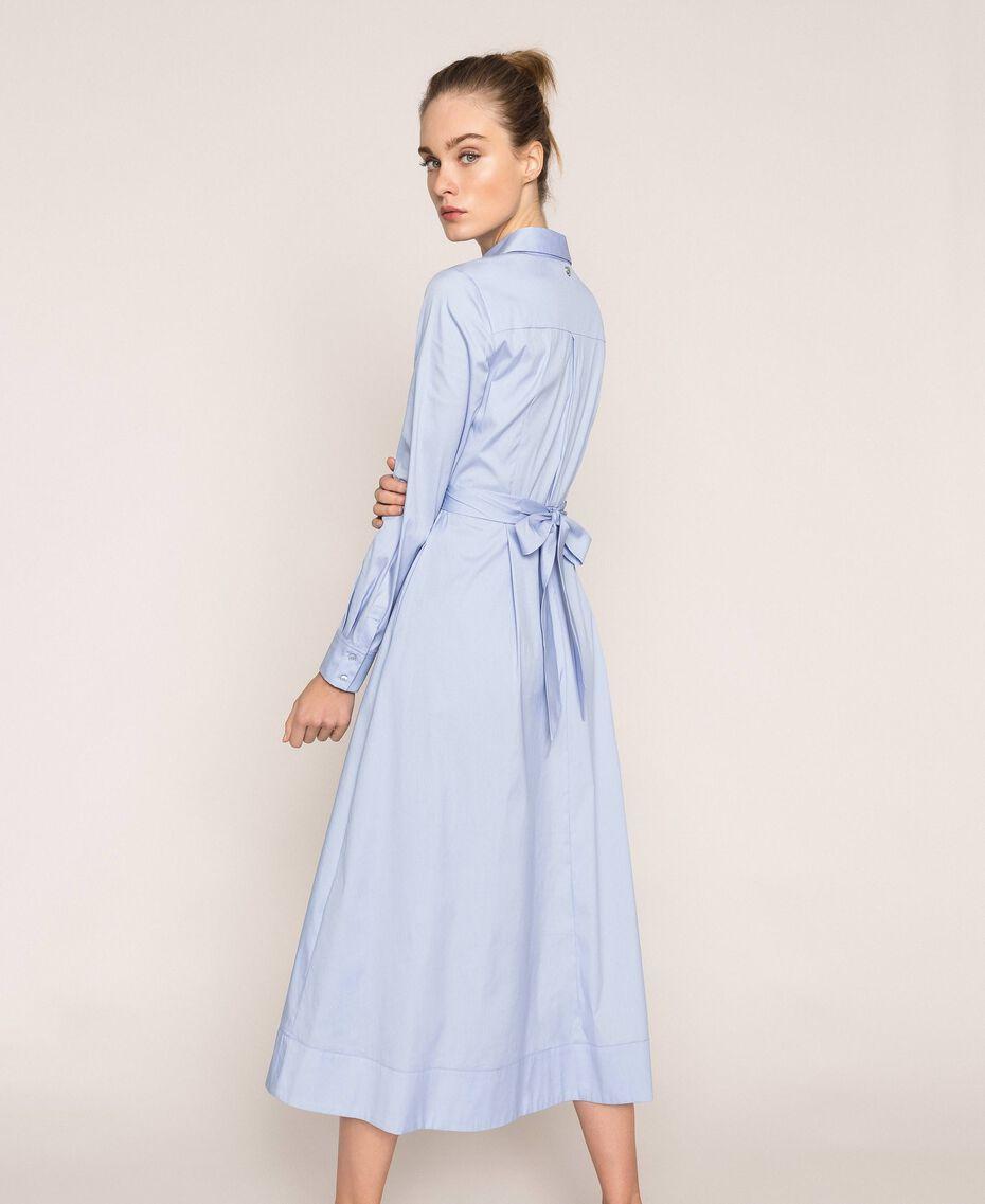 Long poplin shirt dress Sky Blue Woman 201MP218C-01